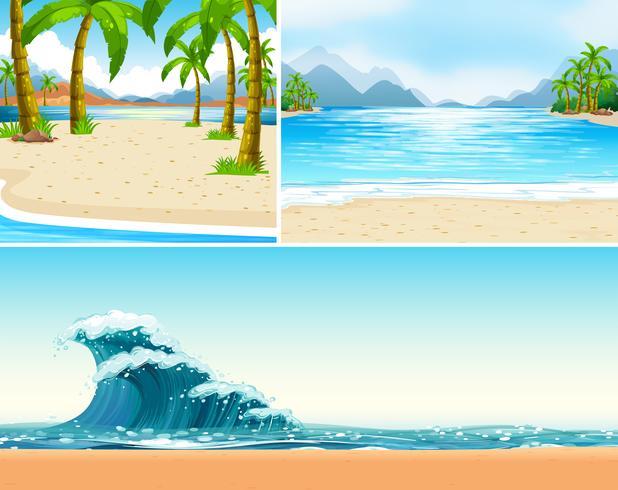 Tre scene di spiaggia e oceano vettore