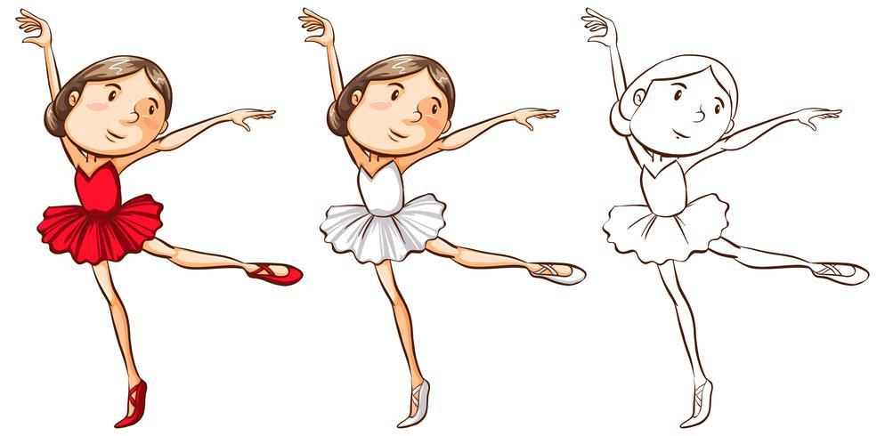 Doodle personaggio per ragazza facendo balletto vettore