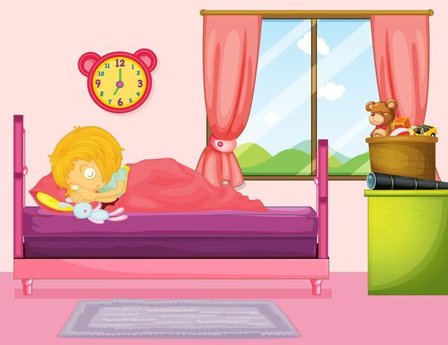 Bambina che dorme nella camera da letto vettore