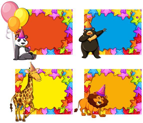 Set di inviti per feste animali vettore