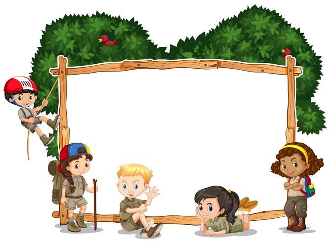 Modello di cornice con i bambini in campeggio in background vettore