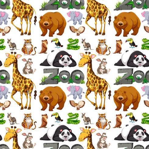 Disegno di sfondo senza soluzione di continuità con animali selvatici vettore