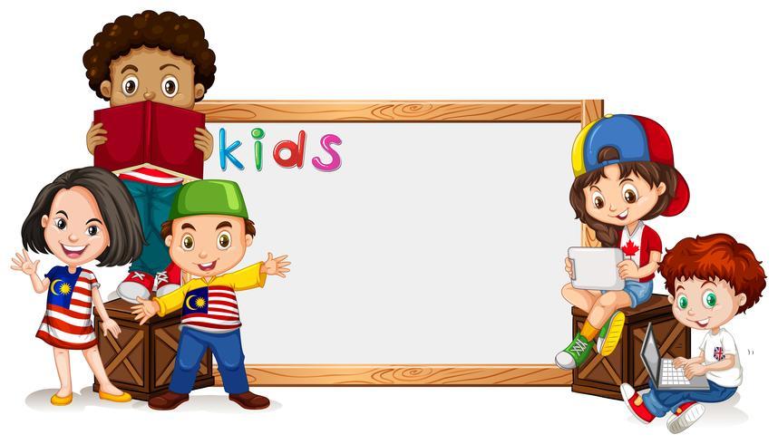 Modello di confine con molti bambini vettore
