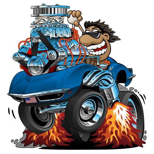 Fumetto classico dell'automobile sportiva, driver divertente, illustrazione isolata di vettore