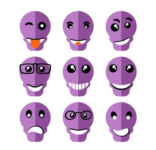 Icone di espressione emoticon Emoji vettore