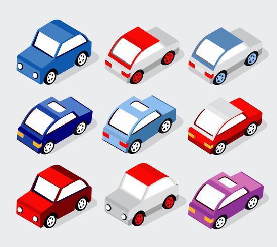 Set isometrico di auto e camion vettore