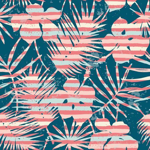 Modello esotico senza cuciture con sfondo di piante e strisce tropicali. vettore