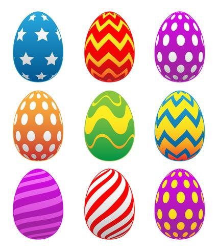Uova di Pasqua colorate dipinte vettore
