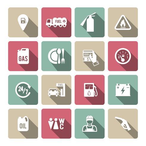 Set di icona di servizio di benzina auto vettore