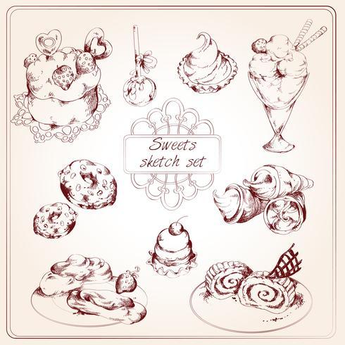 Set di schizzo di dolci vettore