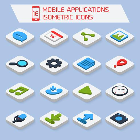Icone isometriche di applicazioni mobili vettore