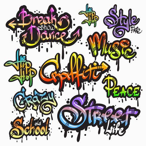 Set di parole Graffiti vettore
