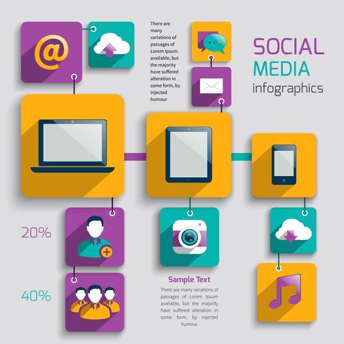 Infografica social media vettore