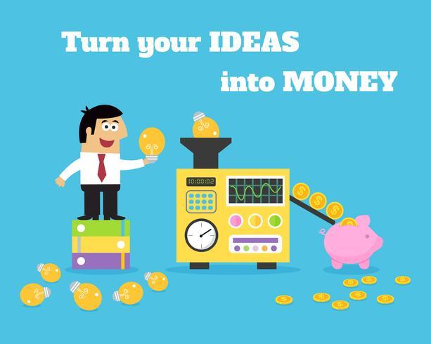 Convertitore di denaro per idee di vita aziendale vettore