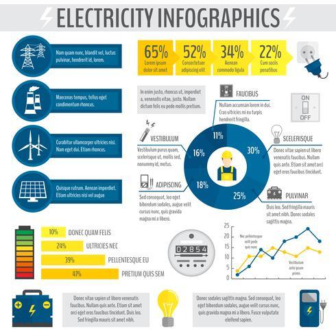 Elettricità infografica vettore