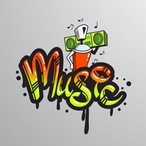 Stampa di caratteri parola Graffiti vettore