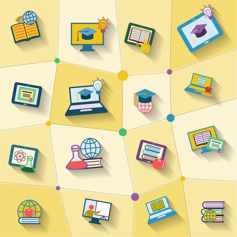 Icona di educazione online vettore