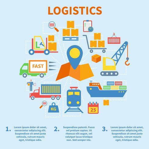 Icone di infografica logistica piatte vettore