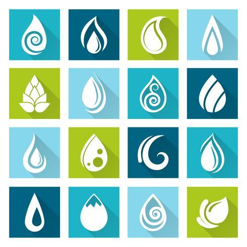 Set di icone di gocce d'acqua vettore