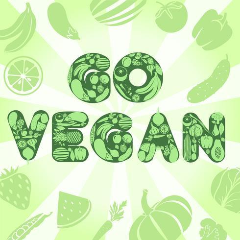 Vai a un poster vegano vettore