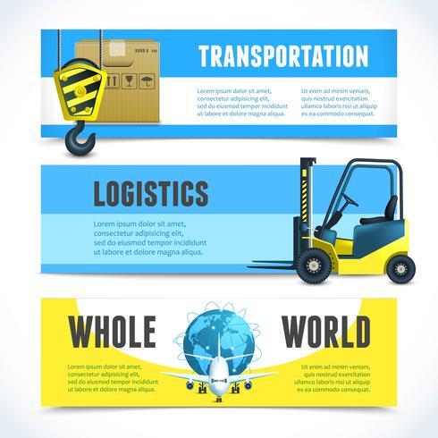 Banner orizzontali logistici vettore