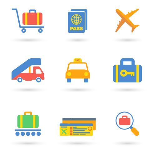 Icone dell'aeroporto piane vettore