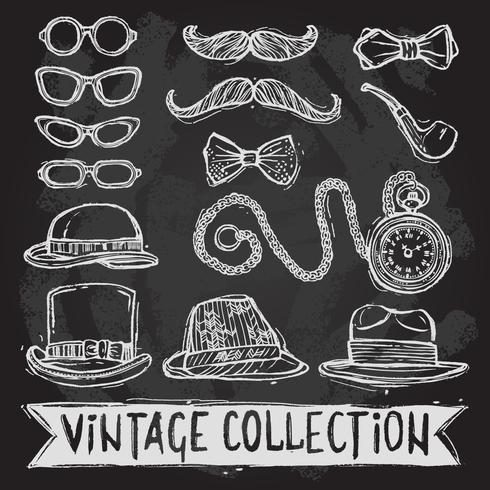 Set di cappelli e occhiali vintage vettore