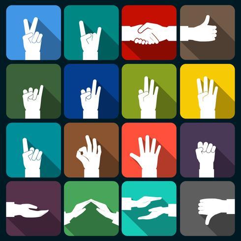 Icone di mani piatte vettore