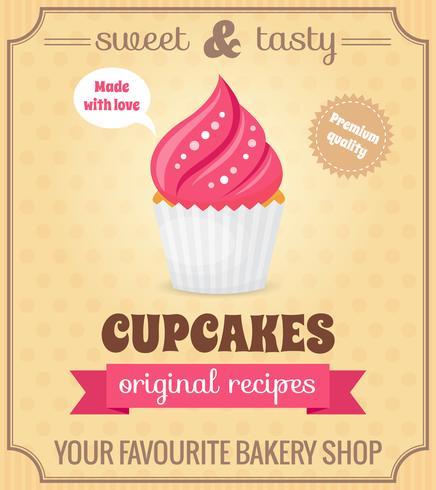 Poster retrò Cupcake vettore