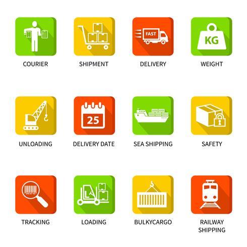 Pulsanti icone logistiche vettore