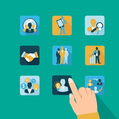 Icone di affari e gestione della mano vettore