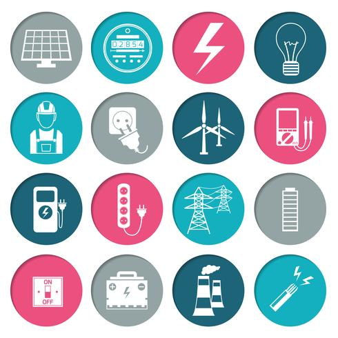 Set di icone di energia elettrica vettore