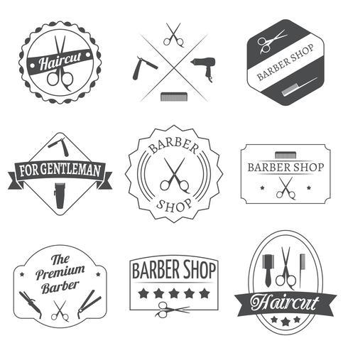 Set di etichette parrucchiere vettore