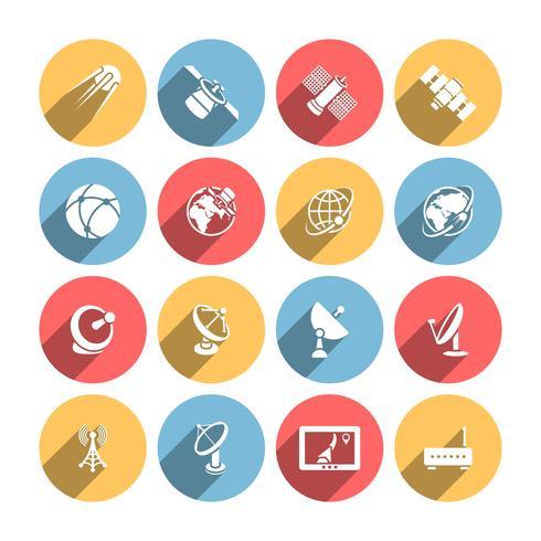 Set di icone satellitari vettore