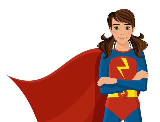 Ragazza in costume da supereroe vettore