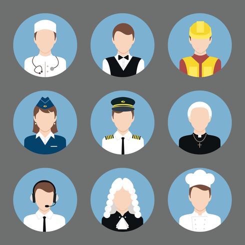 Set di icone piane di avatar di professioni vettore