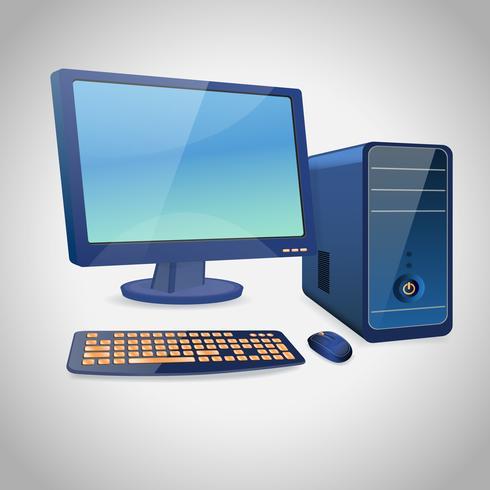 Computer e periferiche blu vettore