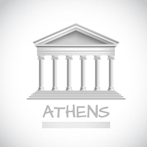 Emblema del tempio di Atene vettore