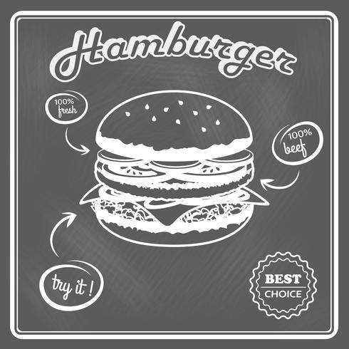 Hamburger poster retrò vettore