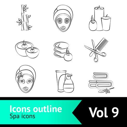 Set di icone di spa di contorno vettore