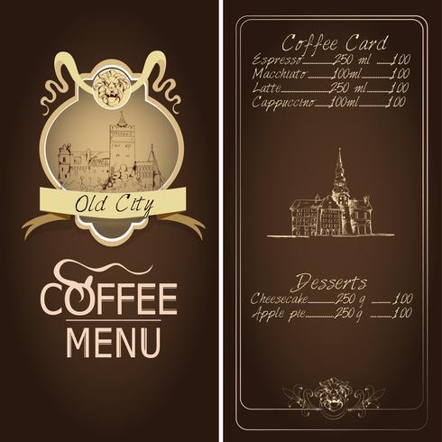 Modello di menu ristorante città vecchia vettore