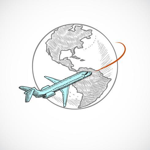 Globo di icone di aeromobili vettore