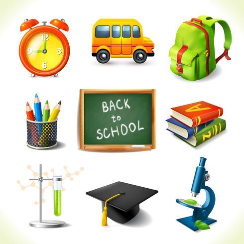 Set di icone di educazione scuola realistico vettore