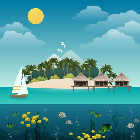 Sfondo isola tropicale vettore