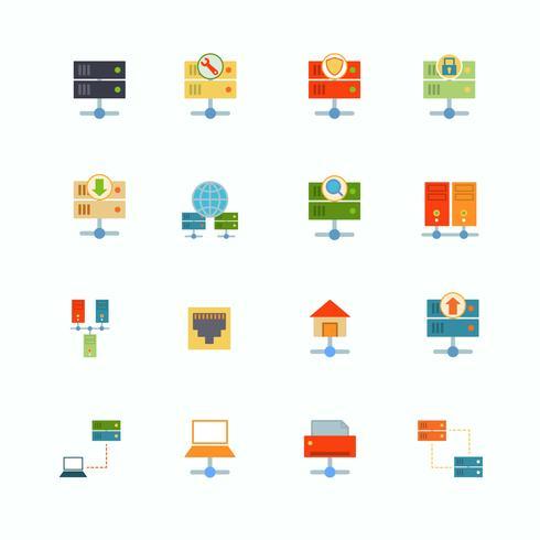 Hosting icone piatte vettore