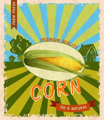 Corn poster retrò vettore