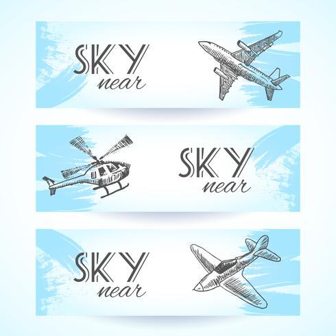 Schizzo di banner di icone di aeromobili vettore