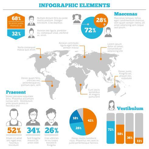 Layout di elementi infographic avatar vettore