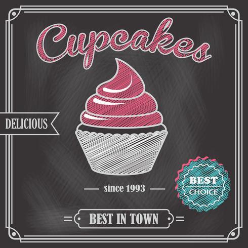 Poster di lavagna Cupcake vettore