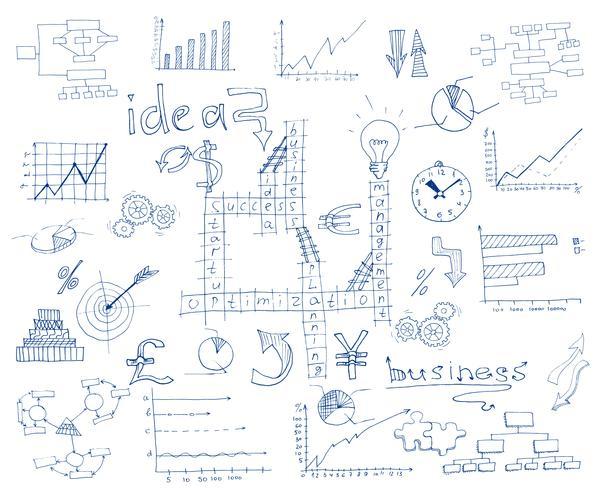 Schizzo di affari infographic vettore